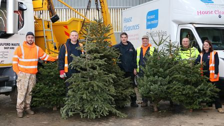 Money was raised for St Nicholas Hospice Care through a Christmas tree collection. Picture: ST NICHO