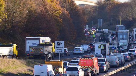 Traffic was busy on the A14 after a five car crash. Picture: ARCHANT LIBRARY