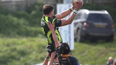 Matt Edison, winning a line-out for Bury, against Canterbury, will play in the second row against Ba