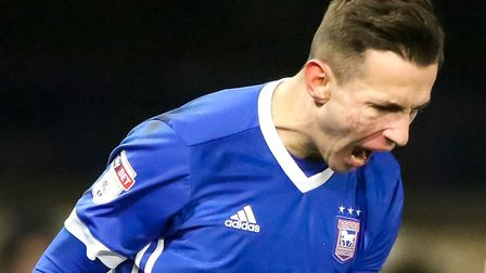 Bersant Celina screams with delight after scoring the only goal of the Ipswich Town v Leeds United g