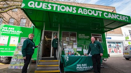 Pictured at Macmillan�s mobile information service is, from left to right, Martina McGill, Wendy Mar
