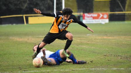 Stow captain Ollie Brown hurdles a tackle. Picture: DAVE WALKER