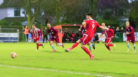 Miles Powell strokes home from the penalty spot to level for the Seasiders. Picture: STAN BASTON
