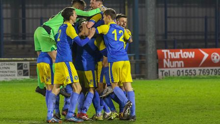 King's Lynn Reserves celebrate handing Woodbridge Town their first league defeat of the season. Pict