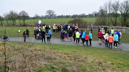 Runners and walkers mingle before the start of the 192nd Great Notley parkrun. Picture: MIKE ELDRED