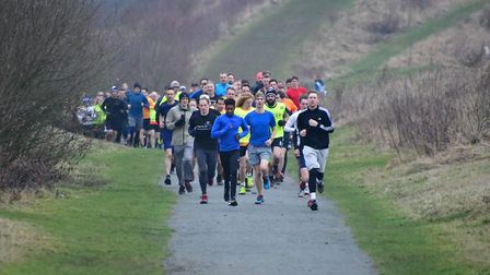The head of the field at the Great Notley parkrun, held on Saturday. Picture: MIKE ELDRED