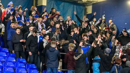Fortuna D�sseldorf fans supporting Ipswich stayed behind singing long after the final whistle. Pict