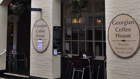 The car is reported to have crashed into the Georgian Coffee House, Woodbrige. Picture: ARCHANT LIBR