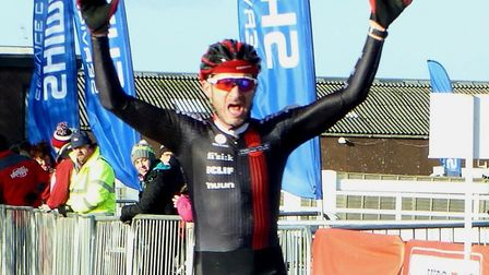 Stephen James wins the Vets 40-49 race at Trinity Park. Picture: FERGUS MUIR