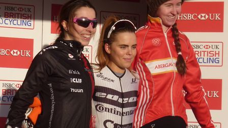 Sophie Wright (left) on the Women�s podium with Anna Kay and Ffion James at Trinity Park. Picture: F