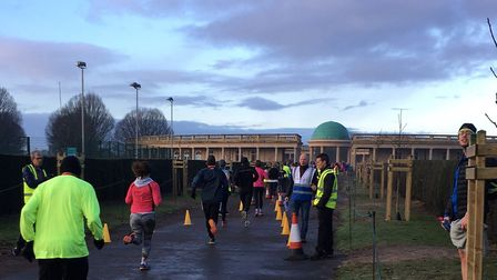 The finish of last Saturday's Norwich parkrun, in front of the great colonnaded pavilion in Eaton Pa