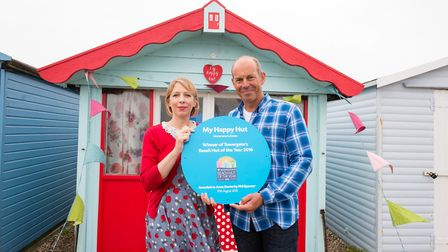 Television presenter Phil Spencer with Anna, owner of My Happy Hut at Dovercourt. Picture: JEFF SPIC
