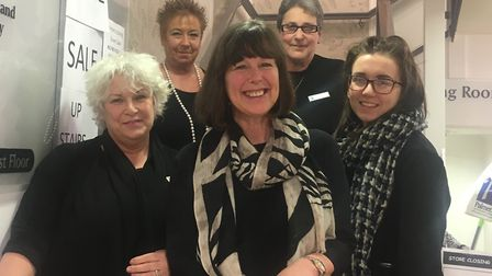Giselle Roadley-Battin (centre), with staff at Palmers in Bury St Edmunds. Picture: MICHAEL STEWARD