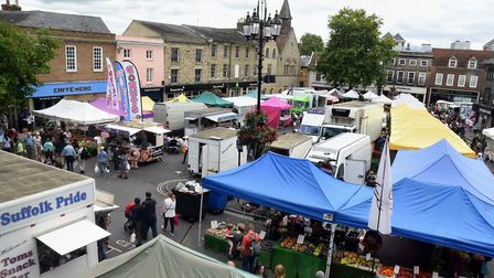 The Saturday market on the Cornhill and Buttermarket in Bury St Edmunds PICTURE ANDY ABBOTT