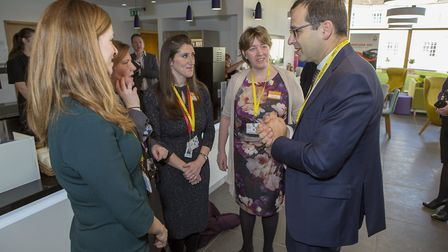 EDF Energy CEO Simone Rossi chatting to guests about his visit to Hinkley Point C. Picture: EDF ENER