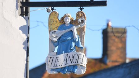 The Angel Hotel sign in Lavenham. Picture: GREGG BROWN