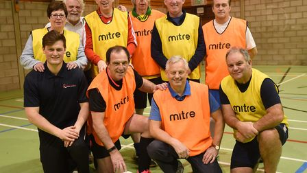 Bury St Edmunds mayor Terry Clements (front row second left) taking part in walking football as a wa
