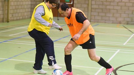 Bury St Edmunds mayor Terry Clements taking part in walking football as a way of encouraging people