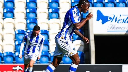 Brandon Hanlan, celebrating after scoring in the U's 2-1 defeat at home to Wycombe from earlier this