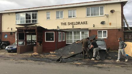 High winds tore down the roof of The Sheldrake pub in Jaywick. Picture: DANNY SLOGGETT