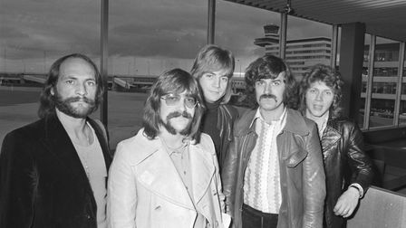 The Moody Blues arrive at Schiphol Airport, Amsterdam, in 1970. Ray Thomas is second from the right.