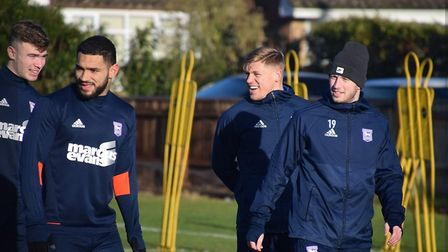 Cameron Carter-Vickers, pictured with Aaron Drinan, Martyn Waghorn and Luke Hyam. Picture: ITFC