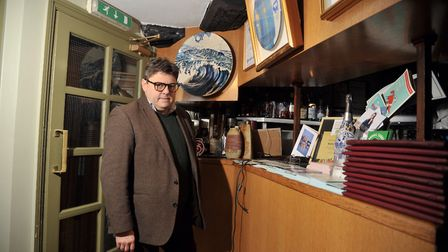 Owner of The Galley, Ugur Vatar, stands where the cash machine formerly stood. Picture: SARAH LUCY