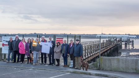 South Suffolk MP James Cartlidge joins members of Shotley Pier Group at the pier. Picture: SHOTLEY P
