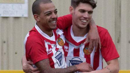 Anton Clarke, left, celebrates his opening goal for Stow with Luke Read. Picture: PAUL VOLLER