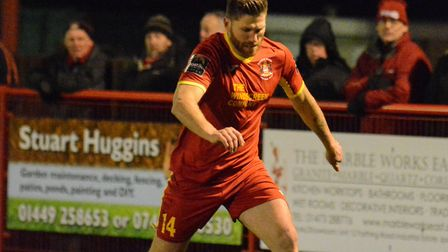 John Sands scored twice for Needham in their 2-2 draw with Folkestone. Photo: BEN POOLEY
