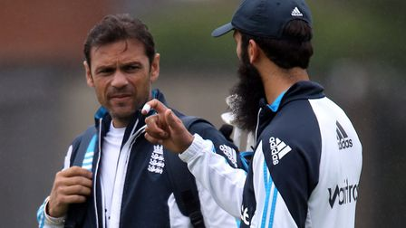 Mark Ramprakash (left) and Moeen Ali have a chat. Ramps went on to win Strictly Come Dancing. He was