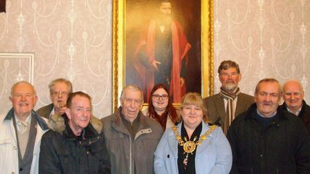 Some of the clothing voucher recipients at Sudbury Town Hall with Mayor Sarah Page, and daughter Bek