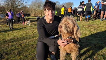 Helen Reglen, 50, with her 10-year-old wirehaired vizsla called George. Picture: GEORGE RYAN