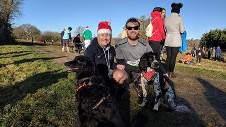 Beccles residents Donna Mills, 53, with collie Alf and Joe Bean, 25, with 'sprocker' Bob. Picture: G