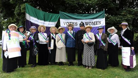The Sudbury Ephemera Archive dress as suffragettes to walk in the Sudbury Carnival on Sunday, August