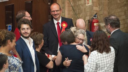 Sandy Martin celebrated winning the Ipswich seat at the General Election. Picture by ASHLEY PICKERI