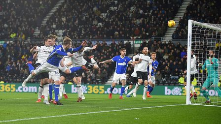 Callum Connolly scores his early goal at Derby. Photo: Pagepix