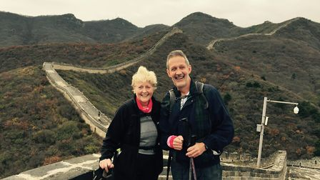 John and Sandra Reeve pictured during their Great Wall of China trek in 2016. Picture: JOHN REEVE
