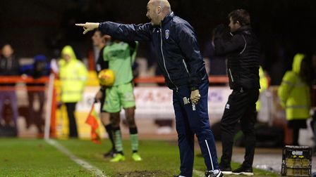 U's boss John McGreal directs his players during the 2-0 win at Crawley Town on Boxing Day. Picture: