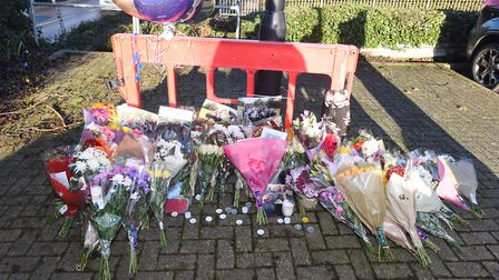 Floral tributes to William Smedley who died in a collision on the A14 near Rougham. Pictured: ARCHAN