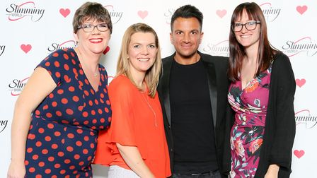 Slimming World Consultants Emma Bell, Sally Neal and Sarah Parsons with singer Peter Andre. PICTURE: