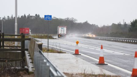 The area where the collision took place on the A14 eastbound at Rougham in west Suffolk. Picture: GR