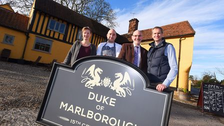 Pictured at the unveiling of the pub's new sign, l-r, Sarah Caston, Richard Podd, Kevin Long and Jam