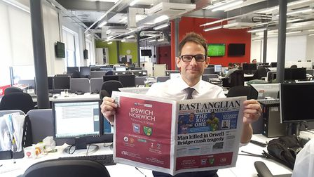 Brad Jones has been appointed group editor of the East Anglian Daily Times and Ipswich Star. Picture