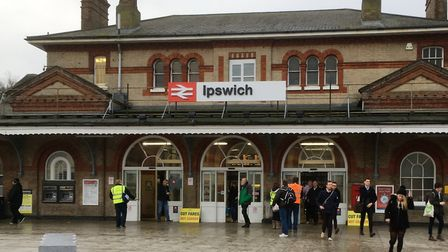 Members of the RMT union lobby rail passengers at Ipswich Station. Picture: PAUL GEATER