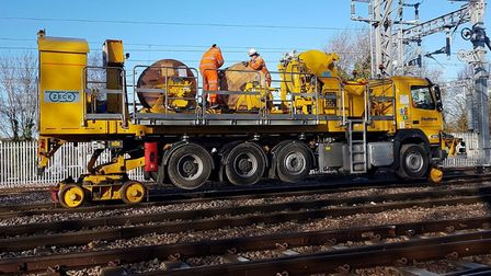 A specialist road/rail vehicle was used to rewire some of the overhead cables near Shenfield. Pictur