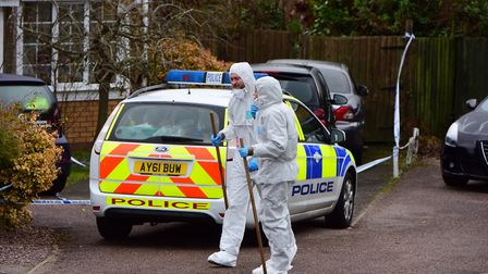 Forensic teams at the scene of a suspected murder in The Brickfields, Stowmarket. Picture: SARAH LU