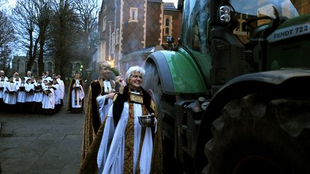 Canon Sally Fogden at a previous Plough Sunday service at St Edmundsbury Cathedral. Picture: ANDY AB