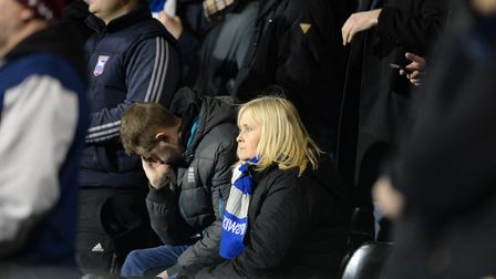 Town fans looking a bit shell-shocked as the 10 man team collapses during the second half at Fulham