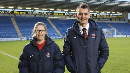Suffolk officials Abi Marriott, left, and Callum Walchester who were both assistant referees at Wemb